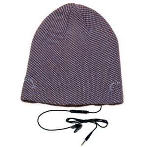 cappellino con speakers e microfono azzurro/marrone hi-head