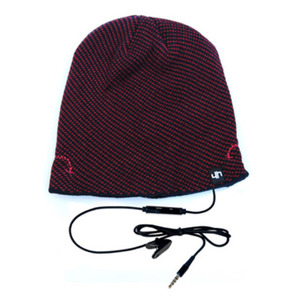 cappellino con speakers e microfono blu scuro/rosso hi-head