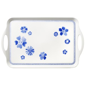 vassoio plastica rettangolare con manici decoro farmhouse touch blueflowers